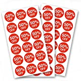 50 Percent Off Stickers,Price Stickers for Retail Store 3/4 Inch,1080 Adhesive Labels
