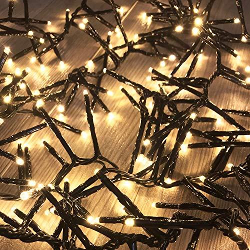 700 Cluster-Lichterkette LEDs Innen und Außen Trafo warmweiß Kabel Dunkelgrün