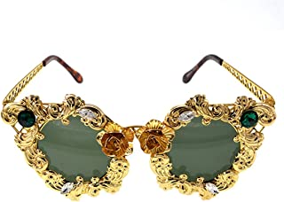 LUKEEXIN Vintage Full Metal Flower Lady's Baroque Sunglasses UV Protection for Driving Travelling (Color : Gold)