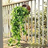 Plantas artificiales de enredaderas colgantes Plantas artificiales de guirnalda de hiedra de plástico, plantas falsas para el hogar, casa, dormitorio, jardín, interior, exterior, cesta colgante, deco
