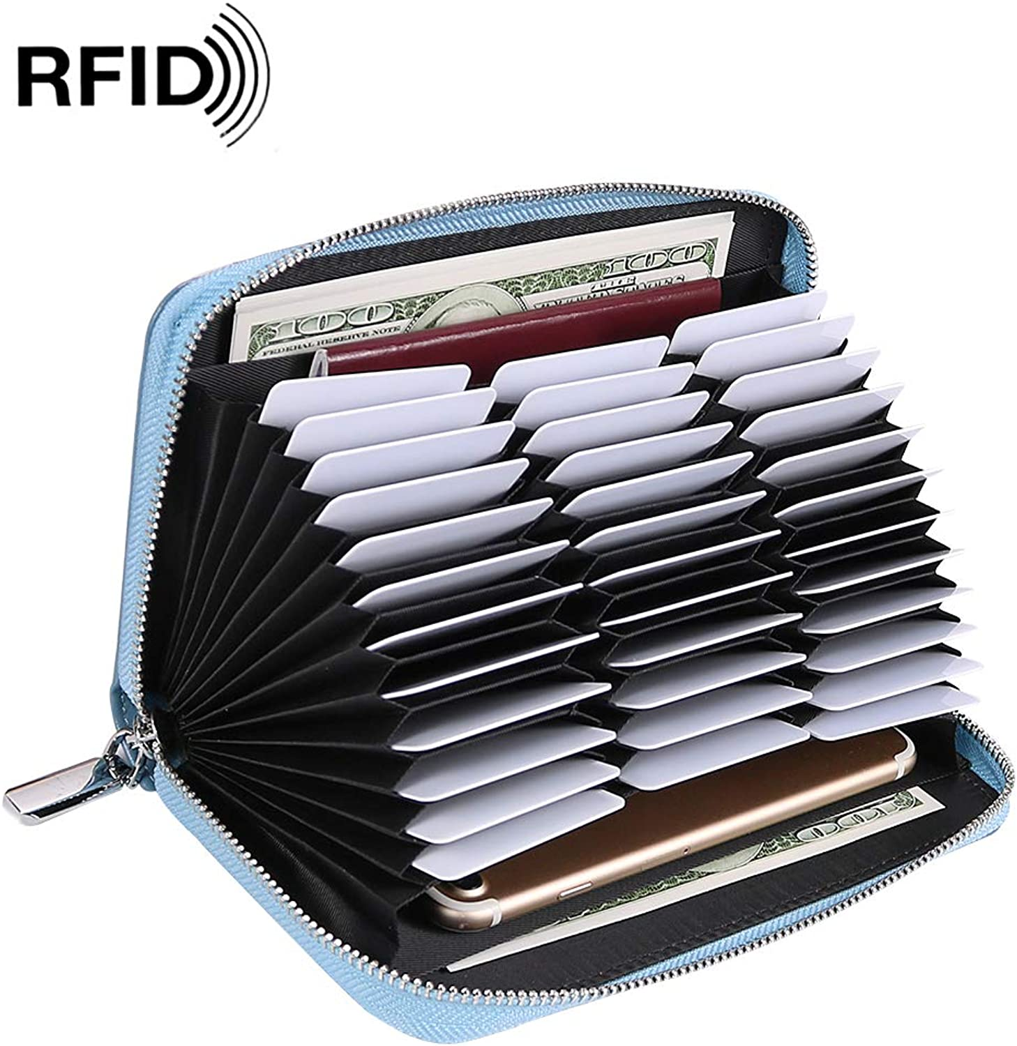 Credit Card Wallet for Women RFID Blocking 36 Slots Credit Card Holder Leather Large Capacity Zipper Purse