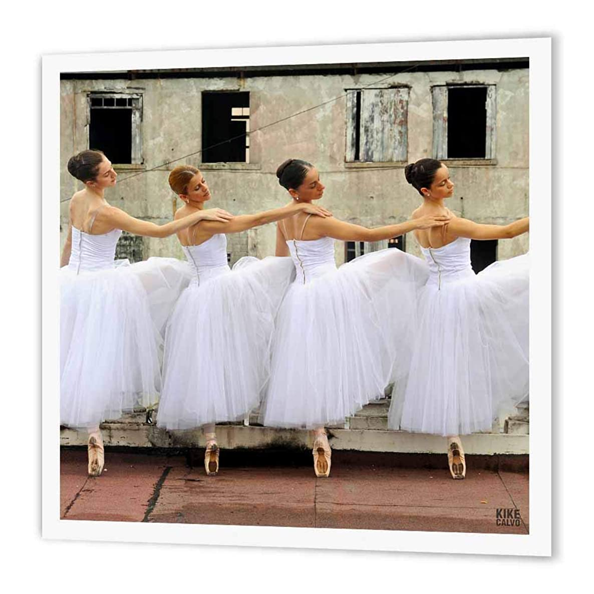 3dRose ht_10006_1 Ballerinas of The National Ballet Wearing a Romantic White Dress 4-Iron on Heat Transfer Paper for White Material, 8 by 8-Inch
