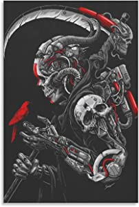 Sci-Fi Skull Cyborg Warrior Scythe Canvas Poster Wall Art Decor Print Picture Paintings for Living Room Bedroom Decoration Unframe-style112×18inch(30×45cm)
