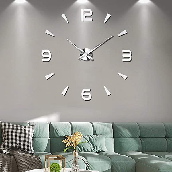 Decalmile Modern Mute Frameless DIY Large Wall Clock 3D Mirror Stickers Office Home Decor Gift Silver