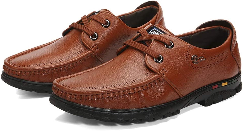 Tillfälliga skor för mäns affärer PU läder läder läder Drive skor Andningsbar Comfortable Casual Lace Up Loafers Anti -Slip Flat Round Toe utomhus  arenan