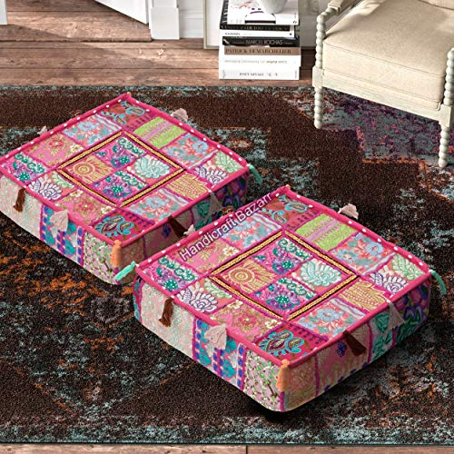 Handicraft Bazarr Euro Sham - Funda de cojín de algodón para el suelo, funda para sofá, funda de cojín, 2 piezas, 45,7 x 45,7 x 12,7 cm