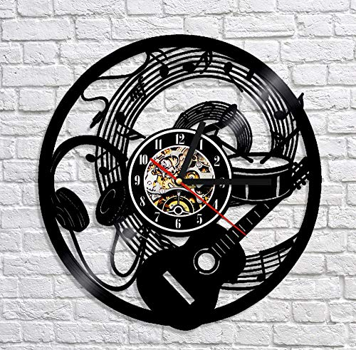 BFMBCHDJ Music Instrument CD Vinyl LP Record Clock Art Wall Decoration 3D Wall Clock Home Decor Unique Gift For Music Fan With LED 12 inches