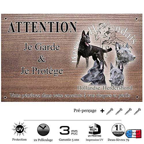 Pets-Easy.com Attention Chien de Garde personnalisée Berger hollandais Poil Court - pré perforée et vis fournies. De 30 cm à 15 cm…