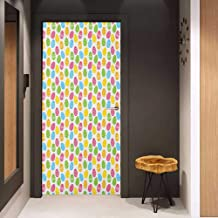 Onefzc Pantry Sticker for Door Easter Greeting The Colorful and Fun Spring Season April Holiday Celebration with Food Sticker Removable Door Decal W32 x H80 Multicolor
