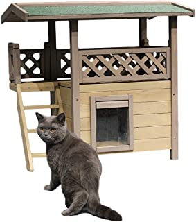Outdoor Cat House Wooden Cat House Pet Outdoor Waterproof And Warm Double-storey House Pet Houses For Large Pet Outside We...