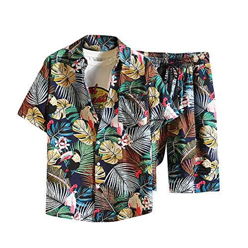 Shirt Set T-Shirt Top Zweiteiliger Anzug Herren Lässig Bedruckte Shorts mit Kordelzug (Top + Hose) (XL,2grün)