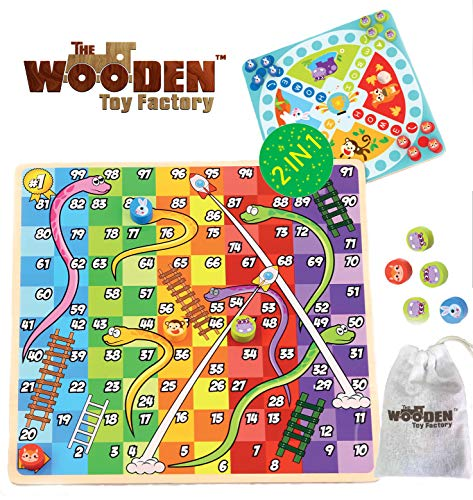 The Wooden Toy Factory - 2 in 1 Board Game - Snakes & Ladders / Home Race (*BONUS*: Includes Storage Bag For Pegs and Dices)