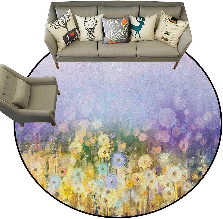 Flower,Carpet mat Chamomile and Dandelion Field Meadow Landscape in Contrasting colors Idyllic View D36 Long Kitchen Mat Bath Carpet