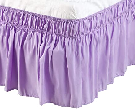 featured product PiccoCasa PiccoCasa Detachable Bed Skirt Wrap Around Three Fabric Sides Elastic Dust Ruffle,  Easy Fit Wrinkle - with 15 Inch Drop Light Purple,  Full Size(75-Inch-by-54-Inch)