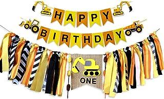 Awyjcas Construction Vehicle 1st Birthday Happy Birthday Banner Party Supplies, Baby Boy Toddler Kids Birthday Truck Decorations