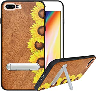 HHDY Compatible with iPhone 8 Plus Case/iPhone 7 Plus Case with Metal Kickstand, Hard Natural Wood Back with Flexible TPU Bumper, Anti-Scratch, Wooden Cover for iPhone 7 Plus/8 Plus, Sunflower