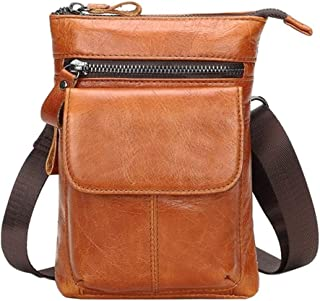Genuine Leather Waist Belt Bags Phone Pouch Men Small Fanny Pack Male Travel Shoulder Crossbody Bags Waist Pack Leather Pouch (Color : Orange, Size : S)