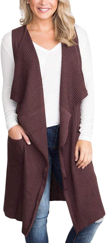 BLENCOT Women's Lightweight Sleeveless Open Front Cardigan Sweater Vest with Pockets
