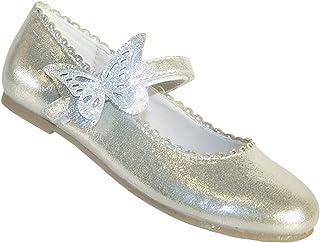 Zapatos de bailarina de fiesta con ribete de mariposa para niñas