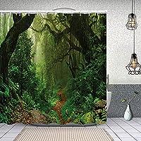 シャワーカーテンネパールの森観光トレッキングブランチミスティロードフレッシュエアアウトドアテーマ 防水 目隠し 速乾 高級 ポリエステル生地 遮像 浴室 バスカーテン お風呂カーテン 間仕切りリング付のシャワーカーテン 150 x 180cm