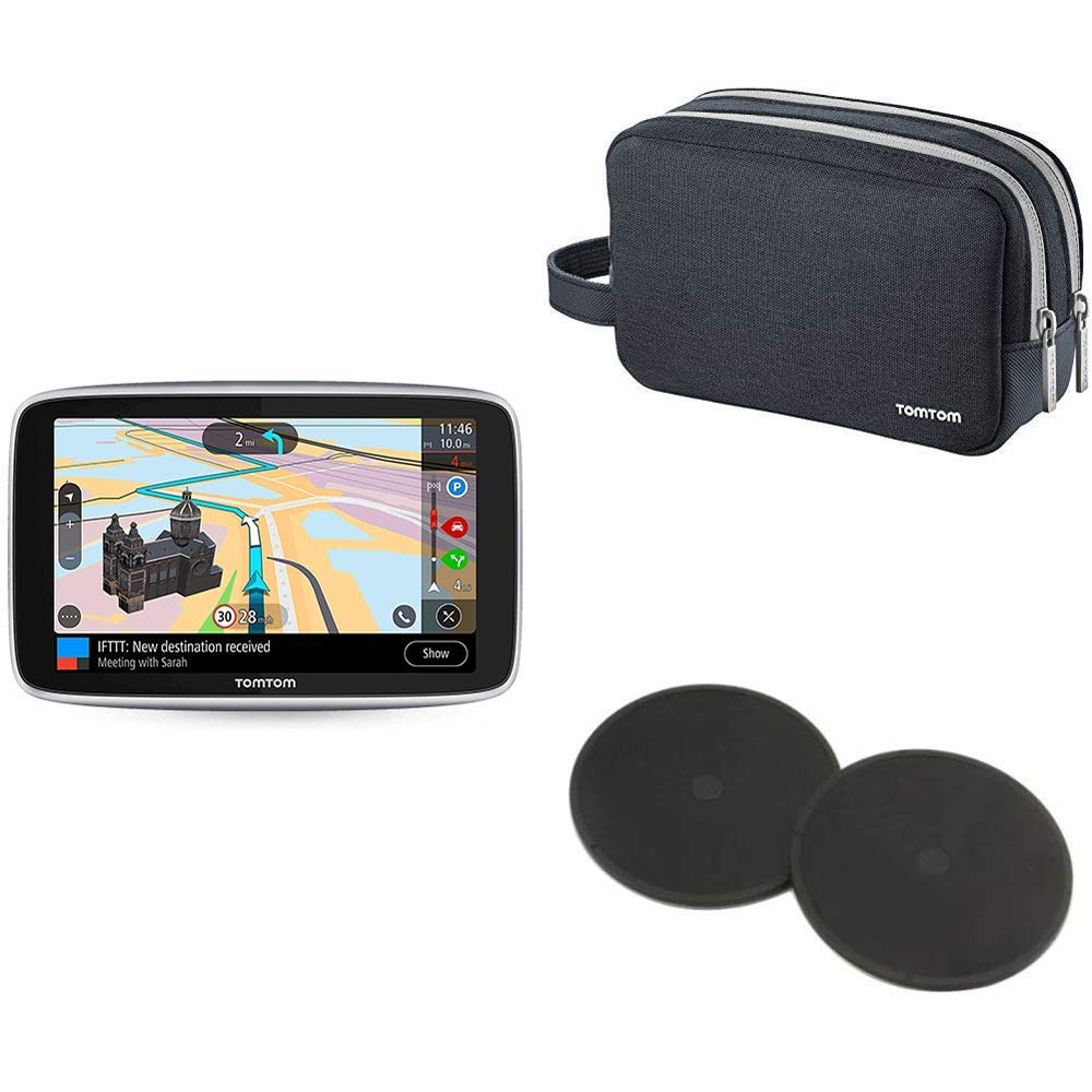 TomTom Go Premium - Navegador GPS 5´ con Actualizaciones Via WiFi,Trafico y Radares para Toda la Vida Mediante Tarjeta Sim Incluida, Mapas del Mundo + Estuche de Viaje Universal + Discos Adhesivos: