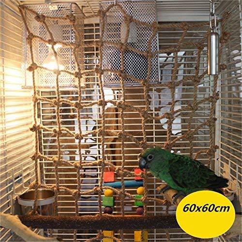 Parrot Climbing Net Hemp Rope Bird Swing Ladder Hammock Hanging Cage Size: 60X60 CM
