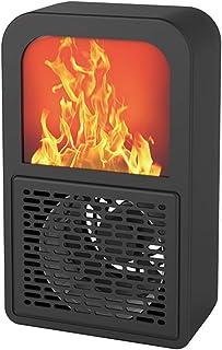 QQLK Mini Calefactor de 400W Silencioso Llama- Mini Ventilador Calefactor EléCtrico, Equipado con ProteccióN contra Sobrecalentamiento E InclinacióN