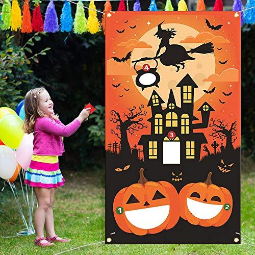 COCOCITY Halloween Sandsäcke Games Sitzsäcke Hängen Toss-Spiele Werfen Spiel Party Karnevalsspiel Dartscheibe Wurfscheibe für Kinder und Erwachsene (4 Sitzsäcken)
