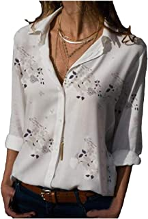 neveraway Womens Casual Printing Plus Size Button Down Roll-Up Sleeve Shirts