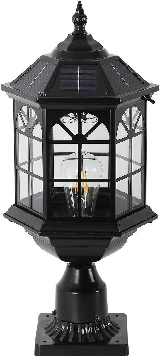 GYDZ Solar Pillar Light Outdoor Large Solar Post Light Remote Vintage Window Design Die Cast Aluminum in Oil-Rubbed Black with Clear Glass Solar Pier Mount Light Outdoor for Gate Column 21.5H