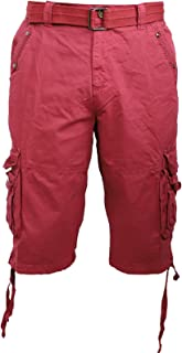 Facitisu Mens Cotton Cargo Shorts Twill Relaxed Fit Multi Pocket Casual Summer Belted Shorts