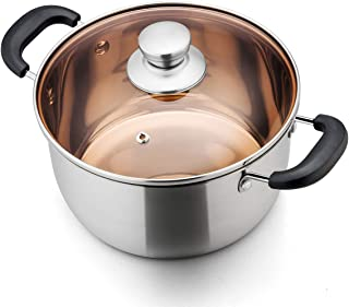TeamFar Stock Pot 4qt, Stainless Steel Stockpot Soup Pasta Pot with Lid, Double Heatproof Handles, Non Toxic & Healthy, Easy Clean & Dishwasher Safe
