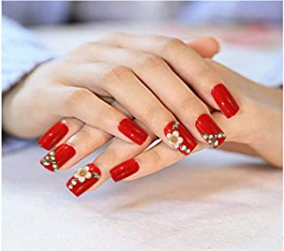 AyA Fashion Self adhesive/Pre - Glued Professional Quality Pre Designed False Nails   French Long Artificial Fake Nail studded with stones   Set of 12 pcs