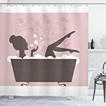 Ambesonne teens girls women decor Collection, Beautiful Woman in Bath Tub Spa Relaxation Treatment Concept Vintage Style, Fabric Bathroom Shower Curtain, 75 Inches Long, Powder Pink Dark Taupe