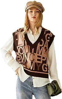 Grneric Maglietta da Maglione da Donna in Feltro d'Autunno Inverno Nuovo in Stile Inglese a Maglia Spalla Senza Maniche