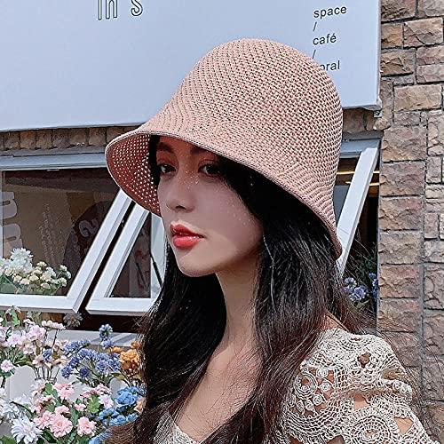 Sombrero Verano Punto señoras Transpirable Bobs Hood al Aire Libre Viaje Moda Dulce Color sólido Cubo Sombrero Sombrero Sombrero-Rosado_Código