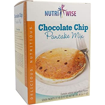 NutriWise - Chocolate Chip Pancake Mix | Healthy Delicious Breakfast | High Protein, Low Sugar, Low Cholesterol, Low Fat, Low Carb (7/Box)