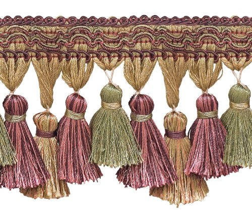DÉCOPRO Dusty Rose, Olive Green, Eggplant 95mm Imperial IITassel Fringe Style# TFI2 Color: Olive Rose - 1010 (Sold by The Yard - 91cm / 3 Ft / 36\