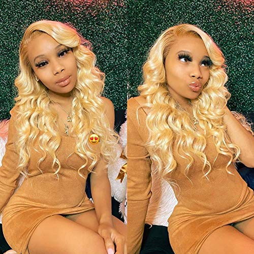 Aopusi 613 Hair Bundles with Lace Closure Body Wave 613 Honey Blonde Bundles with Fake Scalp Closure Brazilian Human Hair Weave Bundles with PU Silk Base Closures Virgin Hair Weft (20 22 24+18,#613)