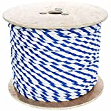 West Coast Paracord Twisted Polypropylene Pool Rope - 3 Strand Polypro Cord - Lightweight Utility Rope for Safety Lines, Pool Lanes - Blue and White (3/4 Inch x 100 Feet)