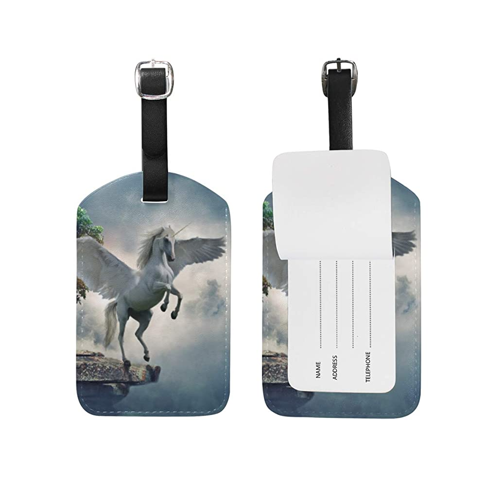 コンベンションふける上記の頭と肩ヴィンテージエンジェルユニコーンHosre レザー 荷物 タグ トラベル カード バッグ ID ラベル (2個)
