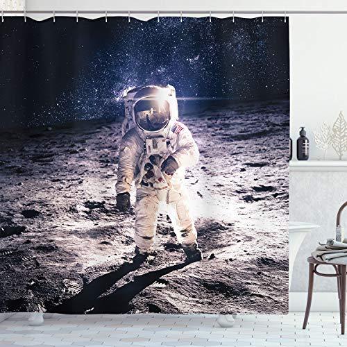 ABAKUHAUS Duschvorhang, Mond Galaxy auf Oberfläche des Umlaufbahn Hintergr& Kosmos Galaxie Solarfotos Digital Druck, Wasser & Blickdicht aus Stoff mit 12 Ringen Bakterie Resistent, 175 X 200 cm