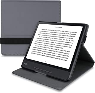 kwmobile Cover for Kobo Forma - PU Leather e-Reader Case with Built-in Hand Strap and Stand - Anthracite