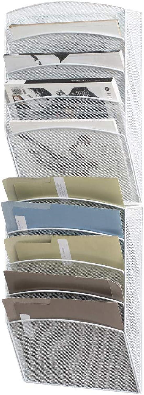 Klickpick Office 10 Sections Wall Hanging Files Wall Mounted Metal Mesh File Document Organizer Magazine Holder Rack Organizer Racks Multipurpose Use to Display Files, Magazine, Newspapers- White