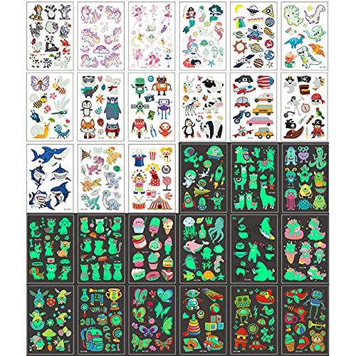 30 Blätter Tattoo Kinder,Leuchtende Tattoo Aufkleber,Temporäre Tattoos für Kinder,Aufkleber Einhorn,Tieraufkleber,tattoo kinder jungen,kindertatooset,Dunkeln leuchten Dino Tattoos Kinder(Leuchtend)
