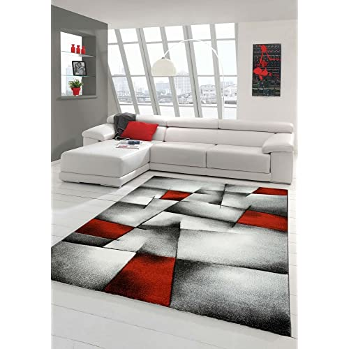 Red White And Grey Living Room Ideas: Red And Grey Rug: Amazon.co.uk