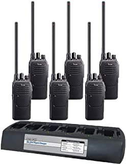 6 Pack of Icom F2000 UHF Analog Two Way Radios PREPROGRAMMED with Multi-charger