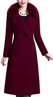 Flygo Womens Double Breasted Fox Fur Collar Wool Trench Coat with Belt