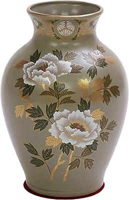 山治陶苑 花器 グレー 白牡丹 8号 (赤丸敷布付き) YMJ-041