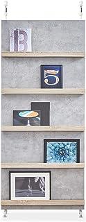 LOWYA 壁面収納 パーテーション 収納 壁面ユニット 本棚 幅80cm グレー/ナチュラル